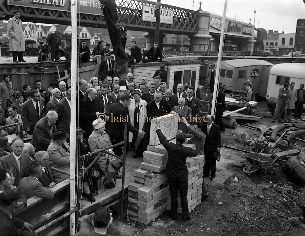 12/05/1962<br /> 05/12/1962<br /> 12 May 1962<br /> Liberty Hall foundation stone laid. John Conroy (glasses) General President of the I.T.&amp;.G.W.U. laying the foundation stone of the new Liberty Hall, Dublin.