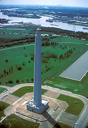 Stock photo of the aerial view of the San Jacinto Monument in Houston Texas