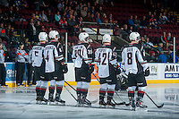 KELOWNA, CANADA - OCTOBER 1: Tyler Morrison #5, Clayton Kirichenko #4, Joel Hamilton #39, Carter Popoff #42 and Alec Baer #8 of Vancouver Giants line up against the Kelowna Rockets on October 1, 2014 at Prospera Place in Kelowna, British Columbia, Canada.   (Photo by Marissa Baecker/Shoot the Breeze)  *** Local Caption *** Tyler Morrison; Clayton Kirichenko; Joel Hamilton; Carter Popoff; Alec Baer;