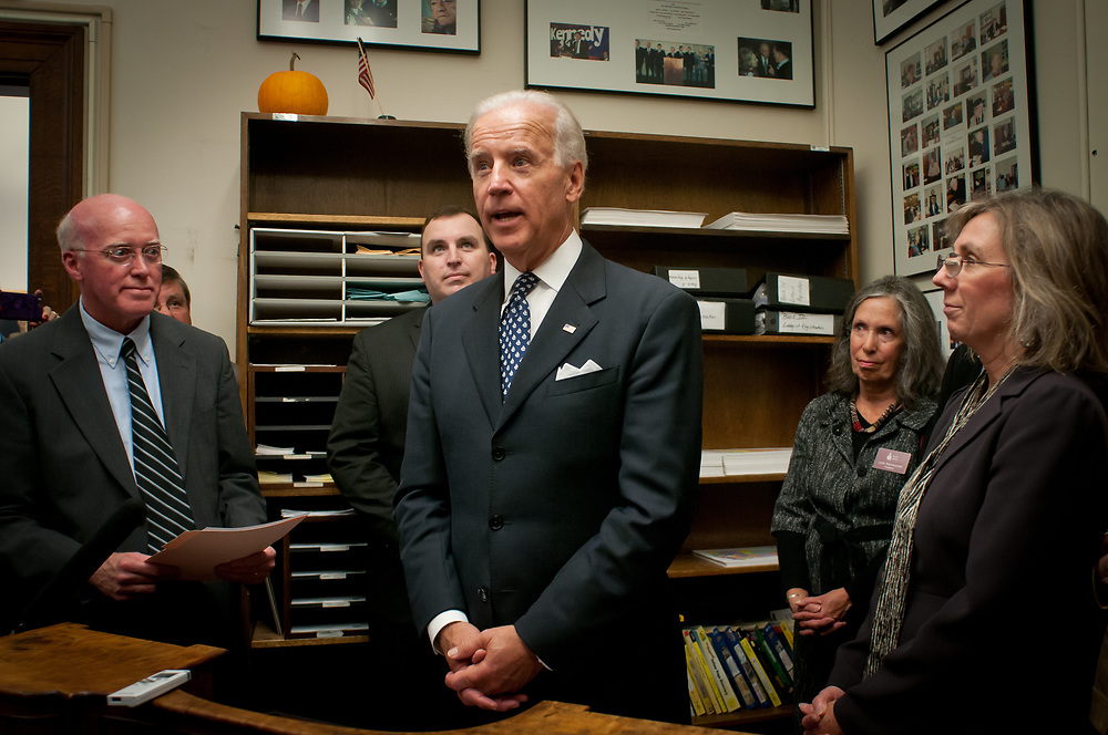 Vice President Joe Biden makes a stop at the New Hampshire State house to file official paperwork  with the secretary of state on the president's behalf, making President Obama an official candidate in the New Hampshire primary. Concord, NH. 20th of October 2011