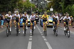 July 29, 2018 - Paris Champs-Elysees, France - PARIS CHAMPS-ELYSEES, FRANCE - JULY 29 : THOMAS Geraint (GBR) of Team SKY & FROOME Chris (GBR) of Team SKY, BERNAL GOMEZ Egan Arley (COL) of Team SKY, CASTROVIEJO Jonathan (ESP) of Team SKY, KWIATKOWSKI Michal (POL) of Team SKY, POELS Wout (NED) of Team SKY, ROWE Luke (GBR) of Team SKY, during stage 21 of the 105th edition of the 2018 Tour de France cycling race, a stage of 116 kms between Houilles and Paris Champs-Elysees on July 29, 2018 in Paris Champs-Elysees, France, 29/07/18. (Credit Image: © Panoramic via ZUMA Press)