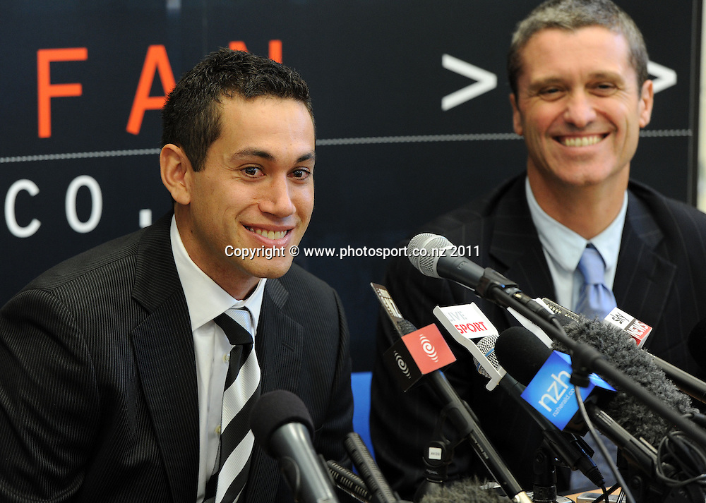 Ross Taylor and NZ Cricket CEO Justin Vaughan at a press conference to announce the new Black Caps NZ Cricket captain. Eden Park, Auckland, Tuesday 21 June 2011. Photo: Andrew Cornaga/Photosport.co.nz