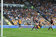 Hull City striker Abel Hernandez (9) scores goal with overhead kick to go 3-1 up during the Sky Bet Championship match between Hull City and Rotherham United at the KC Stadium, Kingston upon Hull, England on 7 May 2016. Photo by Ian Lyall.