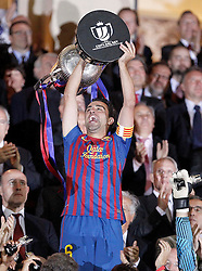 25.05.2012, Vicente Calderon Stadion, Madrid, ESP, Kings Cup Finale, FC Barcelona vs Athletic Bilbao, im Bild Barcelona's Xavi Hernandez celebrates with trophy // during the Spanish Kings Cup final match between Fc Barcelona and Athletic Bilbao at the Vicente Calderon Stadium, Madrid, Spain on 2012/05/25. EXPA Pictures © 2012, PhotoCredit: EXPA/ Alterphotos/ Alvaro Hernandez..***** ATTENTION - OUT OF ESP and SUI *****