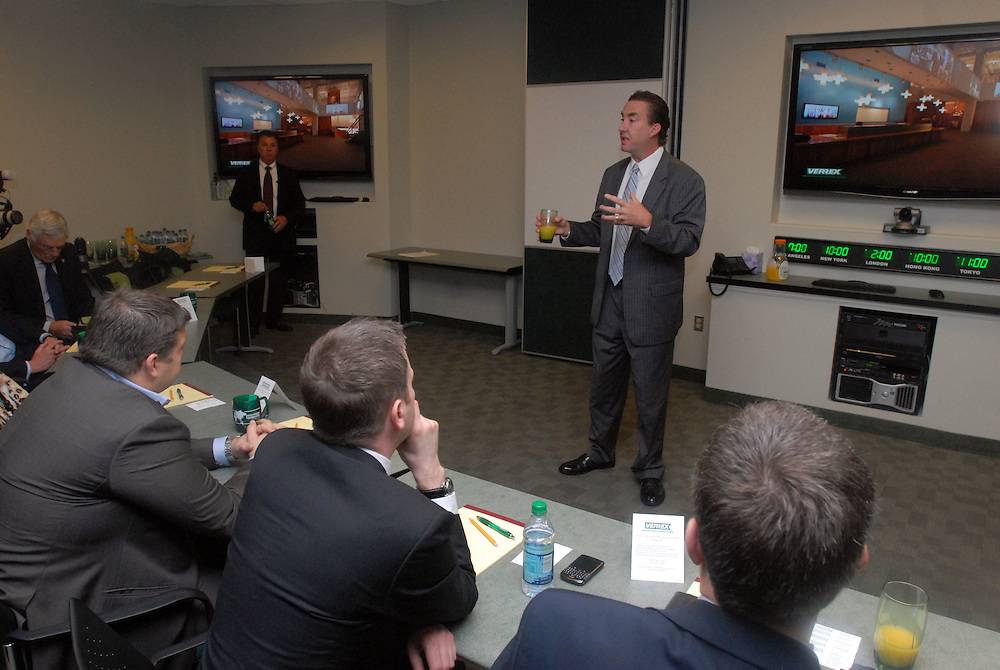 HSBC - Thought Exchange New York - exchange finalists visit Verrex in Mountainside, NJ. Thomas G. Berry jr., (CTS, CEO and Chairman of Verrex) makes his presentation.