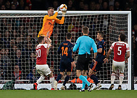 Football - 2018 / 2019 UEFA Europa League - Semi-Final, First Leg: Arsenal vs. Valencia CF<br /> <br /> Neto (Valencia) rises high over Shkodran Mustafi (Arsenal FC) to collect the ball at The Emirates.<br /> <br /> COLORSPORT/DANIEL BEARHAM