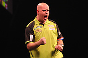 Michael van Gerwin, Three-time & reigning Premier League champion during the Unibet Premier League Darts Night 13 competition at the Manchester Arena, Manchester, United Kingdom on 26 April 2018. Picture by Mark Pollitt.