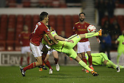 Brighton striker, Tomer Hemed (10) attempts an overhead shot during the Sky Bet Championship match between Nottingham Forest and Brighton and Hove Albion at the City Ground, Nottingham, England on 11 April 2016.