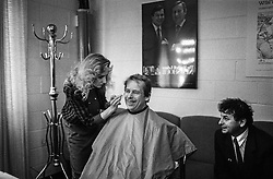 Dream journey: Canada and the United States, 18&ndash;23 February 1990<br /> In the makeup room with the press secretary, Michael Žantovsk&yacute;, PBS NewsHour studios, Washington, DC