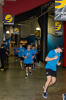 KELOWNA, CANADA - DECEMBER 2: The Kelowna Rockets warm up off ice before taking on the Kootenay Ice on December 2, 2015 at Prospera Place in Kelowna, British Columbia, Canada.  (Photo by Marissa Baecker/Shoot the Breeze)  *** Local Caption ***