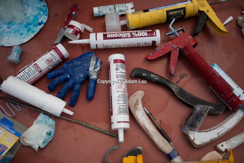 Underwater hockey stick and glove-making party on Sunday, Jan. 23, 2010 in Brisbane, Calif. (Photo © Adam Lau | www.adamlauphoto.com)