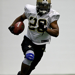 July 27, 2012; Metairie, LA, USA; New Orleans Saints running back Mark Ingram (28) during training camp at the team's indoor practice facility. Mandatory Credit: Derick E. Hingle-US PRESSWIRE