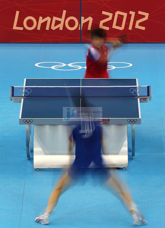 A detail of the table used during a table tennis match at the Olympic Games in London, England, United Kingdom, on 29 Jul 2012..(Jed Jacobsohn/for The New York Times)....