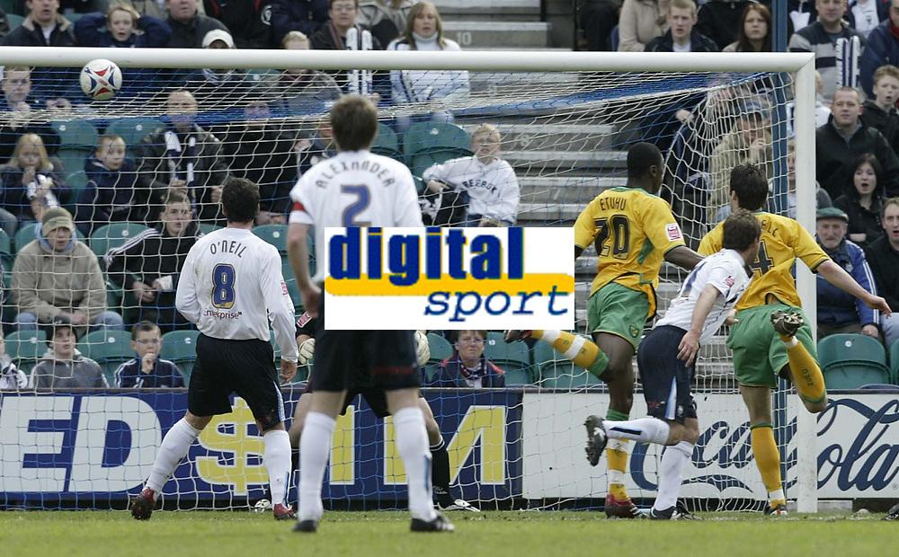 Photo: Aidan Ellis.<br /> Preston North End v Norwich City. Coca Cola Championship. 08/04/2006.<br /> norwich's Jason Shackell heads into his own net for Preston's first goal
