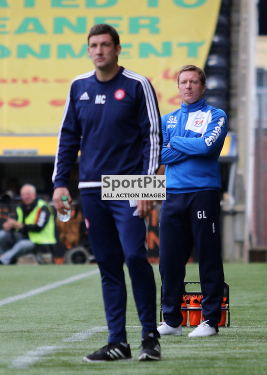 A glum looking Kilmarnock manager Gary Locke looks on during the Kilmarnock FC V Hamilton Academical FC Scottish Premiership 26th September 2015  ©Edward Linton | SportPix.org.uk