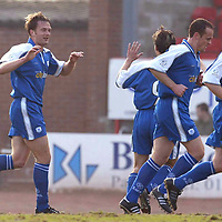 St Mirren v St Johnstone.. 22.03.03<br />Ian Maxwell celebrates his goal<br /><br />Pic by Graeme Hart<br />Copyright Perthshire Picture Agency<br />Tel: 01738 623350 / 07990 594431