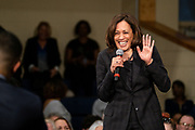 Senator Kamala Harris reacts to a question from the audience during a town hall event on the campaign for the Democratic nomination for president February 15, 2019 in North Charleston, South Carolina. South Carolina is the first southern democratic primary for the presidential race.