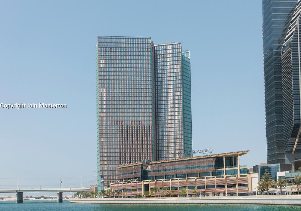 View of Four Seasons Hotel on Al Maryah Island in Abu Dhabi , UAE, United Arab Emirates.