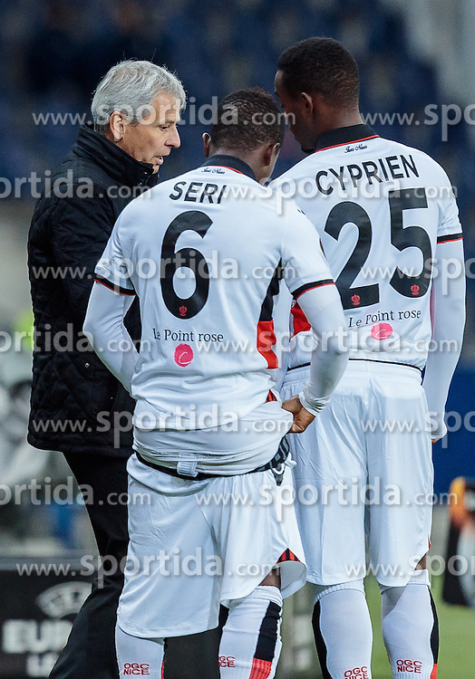 20.10.2016, Red Bull Arena, Salzburg, AUT, UEFA EL, FC Red Bull Salzburg vs OGC Nizza, Gruppe I, im Bild Coach Lucien Favre (OGC Nice), Jean Michel Seri (OGC Nice), Wylan Cyprien (OGC Nice) // Coach Lucien Favre (OGC Nice), Jean Michel Seri (OGC Nice), Wylan Cyprien (OGC Nice) during the UEFA Europa League group I match between FC Red Bull Salzburg and OGC Nizza at the Red Bull Arena in Salzburg, Austria on 2016/10/20. EXPA Pictures © 2016, PhotoCredit: EXPA/ JFK
