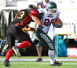 08.07.2011, Tivoli Stadion, Innsbruck, AUT, American Football WM 2011, Group A, Germany (GER) vs Mexico (MEX), im Bild Steve Nzeocha (Germany, #43, LB) tries to bounce Reyes José (Mexico, #22, RB) out of the field // during the American Football World Championship 2011 Group A game, Germany vs Mexico, at Tivoli Stadion, Innsbruck, 2011-07-08, EXPA Pictures © 2011, PhotoCredit: EXPA/ T. Haumer