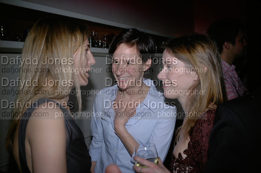 Louise Wilson, Rachel Howard and Jane Wilson, Philippe Parreno  exhibition opening at Haunch of Venison. After party drinks at Sketch. 4 April 2007.  -DO NOT ARCHIVE-© Copyright Photograph by Dafydd Jones. 248 Clapham Rd. London SW9 0PZ. Tel 0207 820 0771. www.dafjones.com.