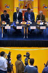 22-03-2011 VOLLEYBAL: PERSCONFERENTIE BONDSCOACH: ROTTERDAM<br /> Bert Goedkoop, Henk Jan Held, Edwin Benne en Marcel Sturkenboom<br /> ©2011 Ronald Hoogendoorn Photography