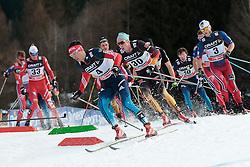 10.01.2015, Langlaufstadion, Lago di Tesero, ITA, FIS Tour de Ski, Langlauf Herren, Mass Start 15Km, im Bild Belov Evgeny (Rus), Tscharnke Tim (Ger) and Sundby Martin Johnsrud (Nor) // during the Men 15 km Cross Country of the FIS Tour de Ski 2015 at the Cross Country Stadium, Lago di Tesero, Italy on 2015/01/10. EXPA Pictures ©  2013, PhotoCredit: EXPA/ Federico Modica