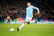Manchester City striker Gabriel Jesus (33) with his penalty during the quarter final of the EFL Cup match between Leicester City and Manchester City at the King Power Stadium, Leicester, England on 18 December 2018.