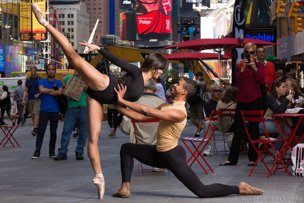 Ballerina Sabrina Imamura and Julian Watson- Times Square New York City. Dance As Art- The New York Photography Project.