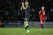 Forest Green Rovers Aaron Collins(10) applauds the supporters as he is substituted during the EFL Sky Bet League 2 match between Leyton Orient and Forest Green Rovers at the Matchroom Stadium, London, England on 23 November 2019.