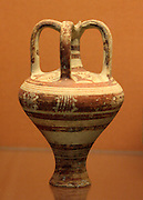 Pottery three-handled jug decorated with a flower motif. Mycenaean,1350-1300 BC Found at Enkomi, Cyprus
