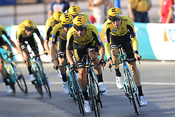 Team Jumbo-Visma led by Primoz Roglic (SLO) in action during Stage 1 of La Vuelta 2019, a team time trial running 13.4km from Salinas de Torrevieja to Torrevieja, Spain. 24th August 2019.<br /> Picture: Eoin Clarke | Cyclefile<br /> <br /> All photos usage must carry mandatory copyright credit (© Cyclefile | Eoin Clarke)