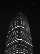 A black and white photograph of 30 Hudson Street, also known as Goldman Sachs Tower, the tallest building in New Jersey.