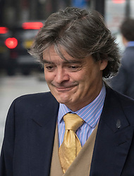 © Licensed to London News Pictures. 11/07/2017. London, UK. RHODRI PHILIPPS, the 4th Viscount St Davids, arrives at Westminster Magistrates Court in London. He is accused of writing threatening messages about Gina Miller just four days after she won a High Court appeal against the Government over Brexit in November 2016. Photo credit: Peter Macdiarmid/LNP