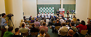 (L-R) Lukasz Kubot & Jerzy Janowicz & Radoslaw Szymanik - captain national team & Mariusz Fyrstenberg & Marcin Matkowski all from Poland while press conference three days before the BNP Paribas Davis Cup 2013 between Poland and Australia at Torwar Hall in Warsaw on September 10, 2013.<br /> <br /> Poland, Warsaw, September 10, 2013<br /> <br /> Picture also available in RAW (NEF) or TIFF format on special request.<br /> <br /> For editorial use only. Any commercial or promotional use requires permission.<br /> <br /> Photo by © Adam Nurkiewicz / Mediasport