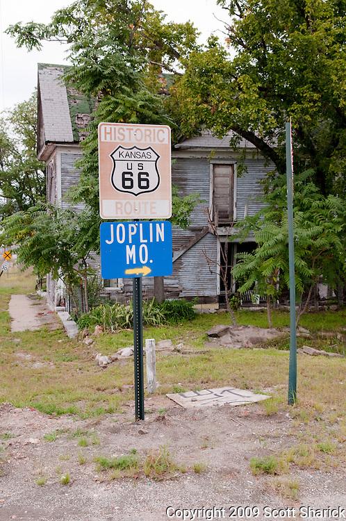 A Route 66 sign in Kansas points the way to Joplin, Missouri. Missoula Photographer