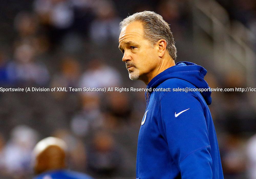 21 DEC 2014: Indianapolis Colts Head Coach Chuck Pagano during an NFL regular season game against the Dallas Cowboys played at AT&T Stadium in Arlington, TX.