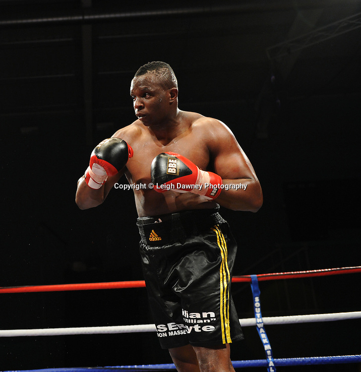 Dillian Whyte (professional debut fight) defeats Tayar Mehmed at Medway Park, Gillingham, Kent, UK on 13th May 2011. Frank Maloney Promotions. Photo credit © Leigh Dawney 2011.