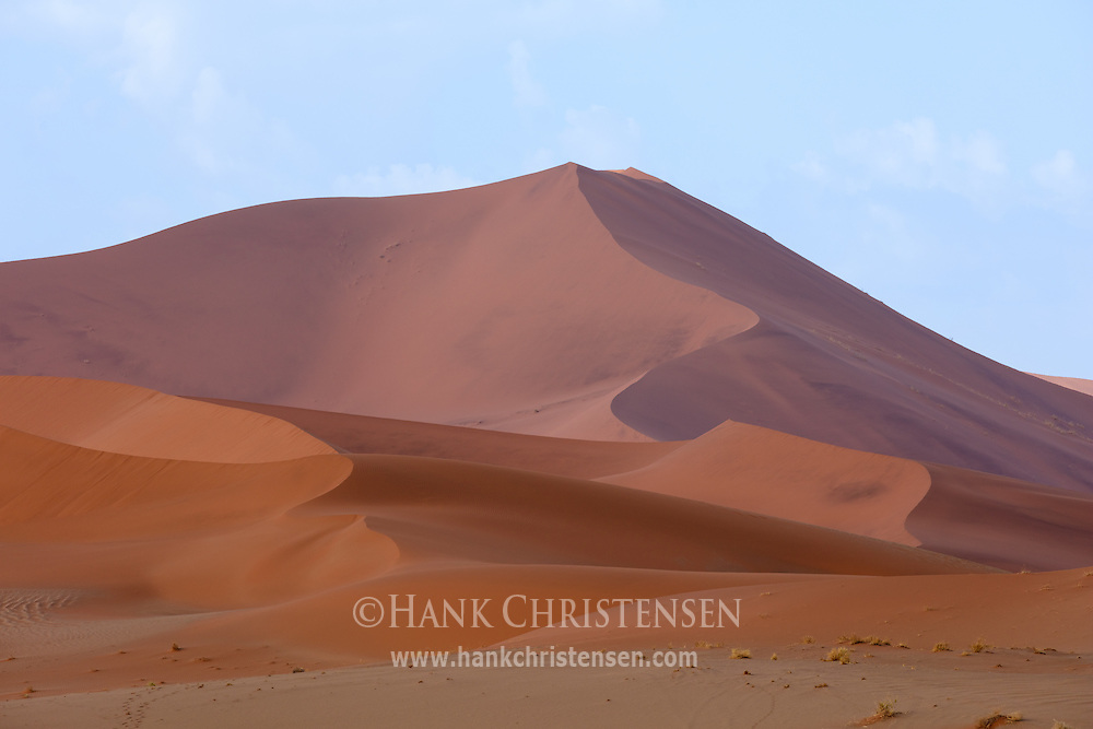 Giant, red sand dunes cover the expanse of the Namib Desert.