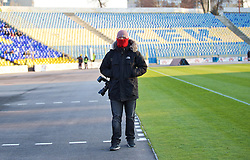SOFIA, BULGARIA - Wednesday, November 26, 2014: Getty Images photographer Andrew Powell during the UEFA Youth League Group B match between PFC Ludogorets Razgrad and Liverpool at the Georgi Asparuhov Stadium. (Pic by David Rawcliffe/Propaganda)