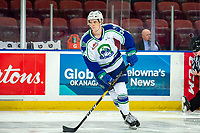 KELOWNA, BC - OCTOBER 16: Kye Buchanan #34 of the Swift Current Broncos warms up with the puck against the Kelowna Rockets  at Prospera Place on October 16, 2019 in Kelowna, Canada. (Photo by Marissa Baecker/Shoot the Breeze)