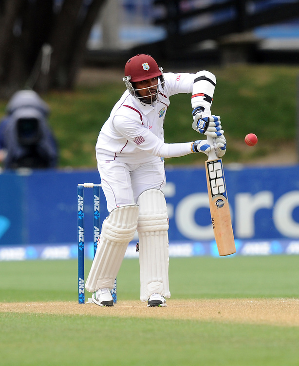 West Indies Denesh Ramdin prods the ball against New Zealand on the third day of the second International cricket match, Basin Reserve, Wellington, New Zealand, Friday, December 13, 2013. Credit:SNPA / Ross Setford