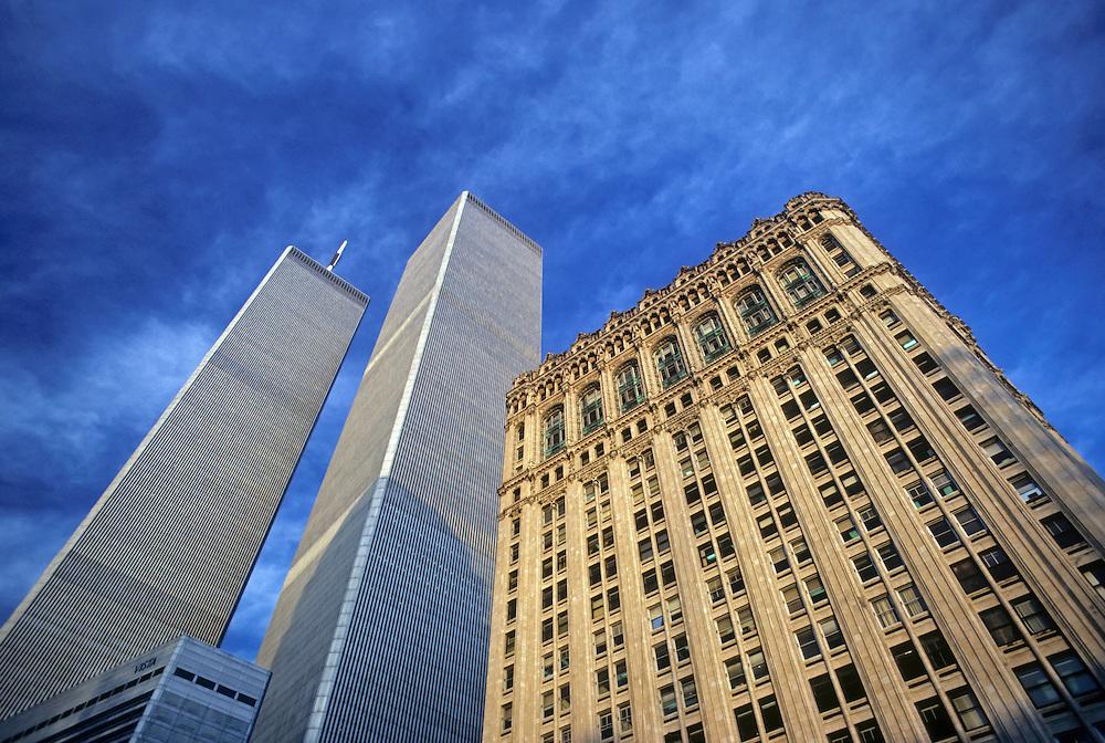 Looking up, Street level, Manhattan, New York City, New York, USA, Twin Towers, World Trade Center, designed by Minoru Yamasaki, International Style II
