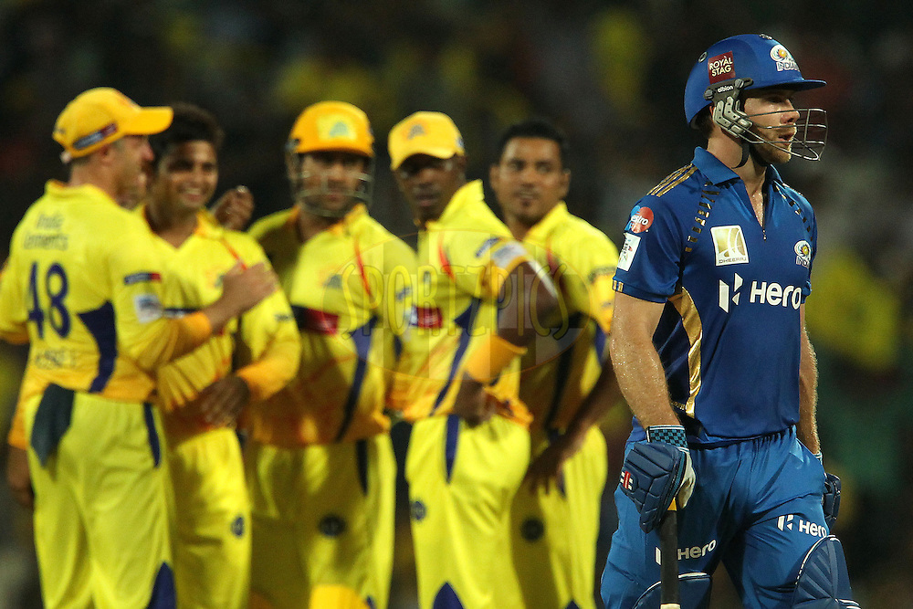 Suresh raina celebrates the wicket of Aiden Blizzard as he departs during match 3 of the NOKIA Champions League T20 ( CLT20 )between the Chennai Superkings and the Mumbai Indians held at the M. A. Chidambaram Stadium in Chennai , Tamil Nadu, India on the 24th September 2011..Photo by Ron Gaunt/BCCI/SPORTZPICS