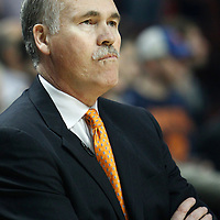 12 March 2012: New York Knicks head coach Mike D'Antoni is seen during the Chicago Bulls 104-99 victory over the New York Knicks at the United Center, Chicago, Illinois, USA.