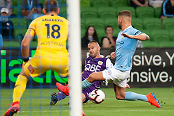 January 19, 2019 - Melbourne, VIC, U.S. - MELBOURNE, VIC - JANUARY 19: Perth Glory defender Ivan Franjic (5) takes a shot at goal at the Hyundai A-League Round 14 soccer match between Melbourne City FC and Perth Glory on January 19, 2019, at AAMI Park in VIC, Australia. (Photo by Speed Media/Icon Sportswire) (Credit Image: © Speed Media/Icon SMI via ZUMA Press)