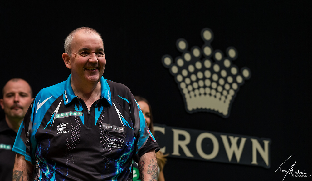 MELBOURNE, Australia - Sunday 20 August 2017:  Phil Taylor before his final against Peter Wright at the Unibet Melbourne Dart Masters at Hisense Arena on Sunday 20 August 2017.<br /> <br /> Photo Credit: Tim Murdoch/Tim Murdoch Photography