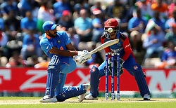 India's Vijay Shankar is trapped LBW by Afghanistan's Rahmat Shah during the ICC Cricket World Cup group stage match at the Hampshire Bowl, Southampton.