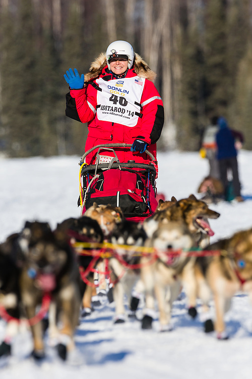Musher Jan Steves competing in the 42nd Iditarod Trail Sled Dog Race on Long Lake after leaving the restart on Willow Lake in Southcentral Alaska.  Afternoon. Winter.