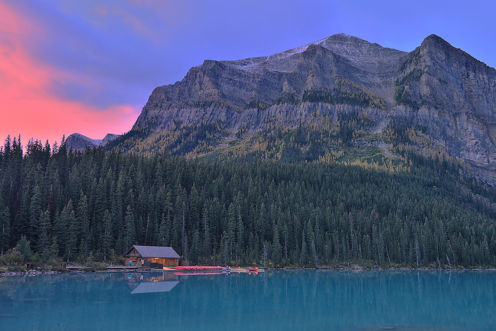 Boathouse on Lake Louise, Banff National Park,Alberta,Canada, UNESCO, World Heritage Site,